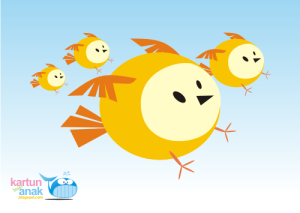 kartun burung terbang lucu